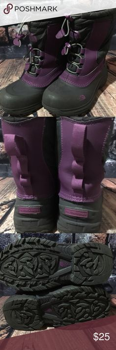 The North Face Winter Boots Big Girl 3 The North Face Winter Boots girl's 3 youth Used condition. No rips or tears on outside of boots.  Inside lining has some fuzzies and some piling.  No rips or tears in lining. Pull on winter boots with bungee cord string at top to tighten Purple. Weatherproof Approximately 10 inches on outside sole Approximately 8 3/4 inches on inside sole 8 3/4 inches high from bottom of heel to top The North Face Shoes Rain & Snow Boots