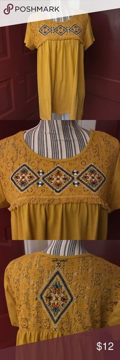Top Mustard colored tunic/smock top with lace, fringe and embroidery detail on front and back. Hannah Tops Tunics