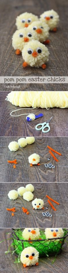 Chicks: Pom Pom Yarn Chicks Tutorial DIY Pom Pom Easter Chicks for more findings pls visit /escherpescarves/DIY Pom Pom Easter Chicks for more findings pls visit /escherpescarves/ Easter Projects, Easter Crafts, Craft Projects, Bunny Crafts, Easter Decor, Easter Ideas, Cute Crafts, Diy And Crafts, Crafts For Kids