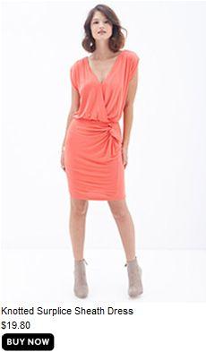Knotted Surplice Sheath Dress
