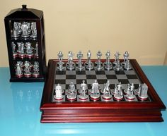 Doctor Who Chess Set that's stored in a Tardis-shaped case. Daleks, Cybermen, K-9 pawns, etc. Brilliant. Allons-y!