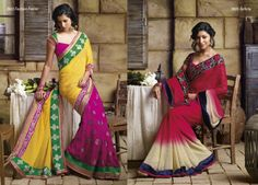 Dark pink,yellow & green color elegant saree is used half chiffon & half Georgette material  AND Indian red & dark cream color chiffon saree with broad embroidered border patta on one side & at other side of saree dark blue color velvet patti