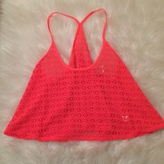 Victoria's Secret PINK Crochet Racerback Tank M/L Racerback tank by Victoria's Secret PINK size M/L. Bright coral color. New without tags. PINK Victoria's Secret Tops Tank Tops
