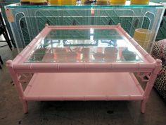Vintage FAUX BAMBOO Coffee Table By Thomasville.....So Pretty In PINK :)