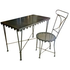 GILBERT POILLERAT  Best metal designer ever. Deco desk and its chair in wrought iron.