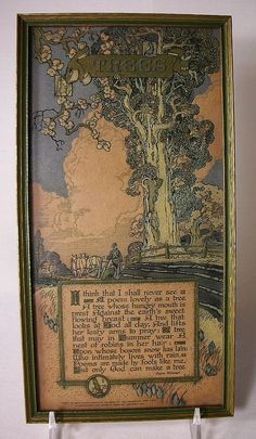 Old 1914 Buzza Motto - Trees by Joyce Kilmer - Framed Arts and Crafts Decor - I think that I shall never see...