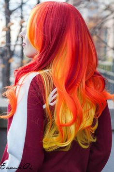Orange, Red and Yellow Hair✶ #Hair #Colorful_Hair #Dyed_Hair