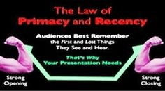 Primacy and recency: It's the 'serial position effect'-- 'first' and 'last'-- items, words, products... are the most memorable and provide greatest leverage in business messaging...