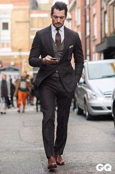 David Gandy, Street Style London Collection 2015 by Monsieur Jerome - GQItalia. Sharp Dressed Man, Well Dressed Men, Mens Fashion Suits, Mens Suits, Suits Women, Grey Suits, Jeans Fashion, Fashion Boots, Womens Fashion