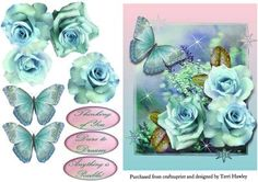 dare to dream blue on Craftsuprint designed by Terri Hawley - This is a beautiful 3D card front with beautiful roses and a large butterfly.Has 3 labels.Thinking of you.Dare to Dream.Anything is possible.Very easy to make. - Now available for download!
