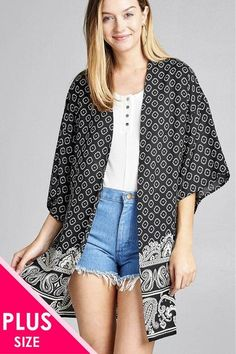 87d8212c4c Ladies fashion plus size open front border print woven kimono