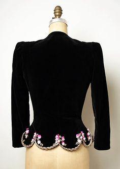 Ensemble, Evening. Elsa Schiaparelli (Italian, 1890–1973). Date: 1937–39. Culture: French. Medium: (a,b) cotton, silk, metallic thread (c,d) plastic, glass. Dimensions: Length at CB (a): 23 in. (58.4 cm). Overall (b): 13 x 7 in. (33 x 17.8 cm).