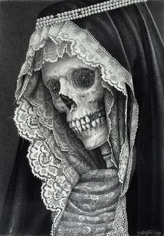 santa muerte drawing by Laurie Lipton Art Harley Davidson, Gouts Et Couleurs, Totenkopf Tattoos, Memento Mori, Skull And Bones, Skull Art, Lace Skull, Bird Skull, Skull Head