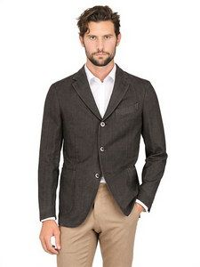 "Boglioli - Cotton Herringbone ""coat"" Jacket | FashionJug.com"