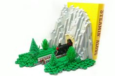 """Lego Mocs Micro ~ microscale train bookends   the first half - """"steamin' along""""  the complete  set."""