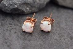 Product Information - Product Type: Opal Earrings in Rose Gold - Gauge Size: 18…