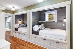 Cottage guest bedroom with built in bunk beds and storage Girls Bunk Beds, Bunk Beds Built In, Modern Bunk Beds, Cool Bunk Beds, Bunk Beds With Stairs, Kid Beds, Best Bunk Beds, Build In Bunk Beds, Built In Beds For Kids