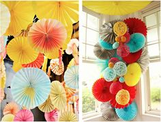 Pinwheels - great decor for a colorful debut party Pinwheel Wedding, Diy Pinwheel, Cheap Party Decorations, Wedding Decorations, Pinwheel Decorations, Paper Decorations, Diy Arts And Crafts, Crafts For Kids, Diy Crafts