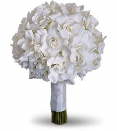 A solid white gardenia bouquet.   ...reminds me of my walk down the aisle. The fragrance was heavenly!