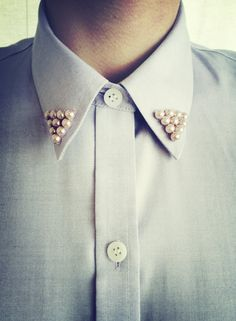 Pastel Collar Button Up Blouse With Pearl Collar