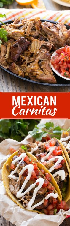 This Mexican carnitas is tender pork slow cooked with citrus and spices, then broiled to crispy perfection. It's a perfect taco filling and tastes even better if it's made a day in advance. #mexicanfoodrecipes