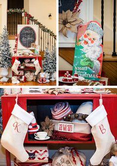 Vintage Santa Christmas Party with Full of DARLING IDEAS via Kara's Party Ideas   KarasPartyIdeas.com #ChristmasParty #SantaClausParty #blogherholidays