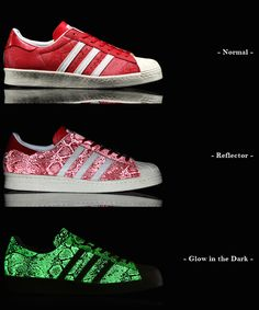 adidas Superstar 80s Glow in the Dark/Reflective Red Snakeskin