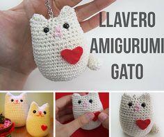 Tutorial #142: Cómo tejer un amigurumi de gatito a crochet | CTejidas [Crochet y Dos Agujas] Crochet Animals, Crochet Toys, Crochet Baby, Knit Crochet, Crochet Key Cover, Crochet Designs, Crochet Patterns, Kawaii Crochet, Idee Diy