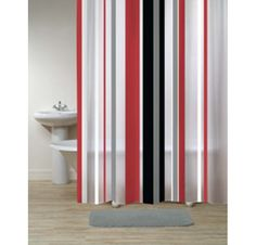 Grey And Red Shower Curtain