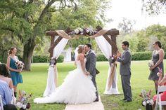 Bride and Groom First Kiss | Tampa Rustic Wedding Venue Cross Creek Ranch Outdoor Wedding