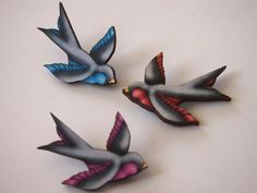 Tattoo Swallows Red Blue and Pink Laser Cut Wood by HungryDesigns