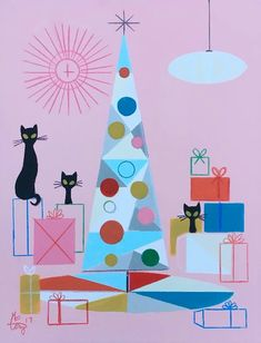 Black cats modernistic vintage Christmas card.