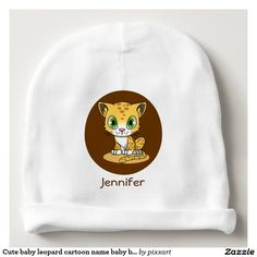 Cute baby leopard cartoon name baby beanie