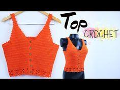 Crochet Summer Tops, Crochet Crop Top, Crochet Blouse, Crochet Bikini, Crochet Hair Clips, Crochet Hair Styles, Crochet Clothes, Top Tejidos A Crochet, Knit Crochet