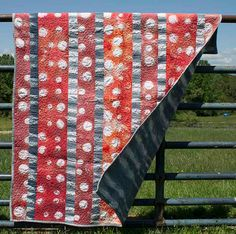 Red and Grey Shibori Quilt by OneRoomFibers on Etsy