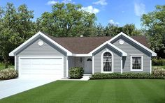 House Plan 20164 | Ranch Traditional Plan with 1456 Sq. Ft., 3 Bedrooms, 2 Bathrooms, 2 Car Garage