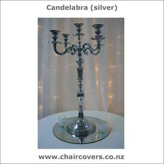 Center piece - Silver candelabra Silver Candelabra, Wedding Things, Centerpieces, Candle Holders, Candles, Lighting, Home Decor, Decoration Home, Room Decor