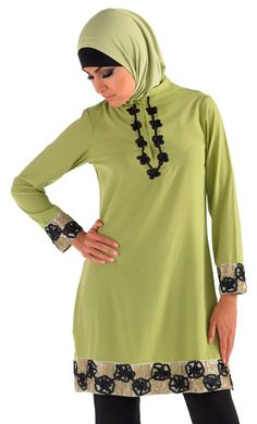 Modest, sweet and simple is what comes to mind when you see this light green kurti from East Essence. Figuring among its latest collection of modest kurtis this top collared tunic, made out of poly crepe fabric, is a unique addition to the lot in terms of design pattern and color.