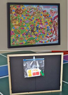 Mount board games on the wall and eliminate bulky boxes. | 36 Clever DIY Ways To Decorate Your Classroom