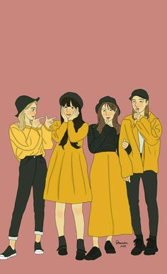 this is my real friend Friends Illustration, Fashion Illustration Sketches, Illustration Art, Cute Couple Art, Cute Couples, Cute Girl Wallpaper, Cute Cartoon Wallpapers, Anime Art Girl, Cartoon Art