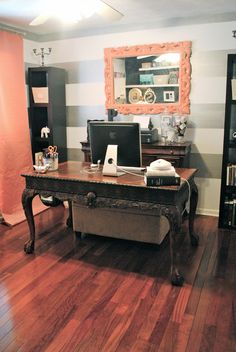 Cute office, Like the mix of an old fashioned desk and modern striped walls and color contrast
