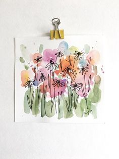 of sale will be donated to The African Community Center in Denver, CO*** Original watercolor painting with black ink of wildflowers. - measures inches - painting is not framed - high quality watercolor paper - signed on front Thanks! Watercolor Projects, Abstract Watercolor, Watercolor And Ink, Watercolor Illustration, Watercolor Flowers, Abstract Paintings, Oil Paintings, Indian Paintings, Abstract Oil