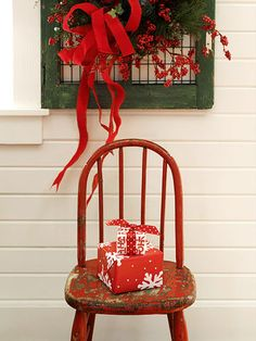 For those in warmer climates, decorate your porch with ribbon and prettily wrapped gifts.