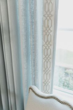 ideas french door curtains bedroom fabrics for 2019 Bedroom Curtains With Blinds, French Door Curtains, French Doors, Window Blinds, Curtain Trim, Drapery Panels, White Living Room Chairs, French Interior Design, Custom Drapes
