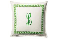 Monogrammed Kimberly 20x20 Pillow, Green on OneKingsLane.com
