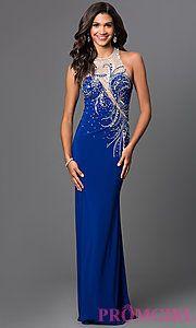 Buy Jewel and Sheer Royal Blue Floor Length Dress by Elizabeth K at PromGirl