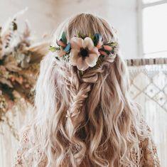 Wedding Hair Colors, Floral Wedding Hair, Beach Wedding Hair, Wedding Hair Down, Floral Hair, Whimsical Wedding Hair, Burgundy Wedding, Boho Bridal Hair, Wedding Hair Flowers