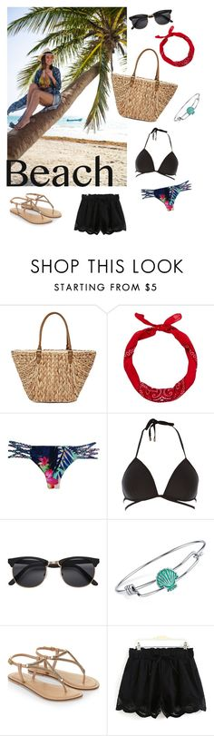 """""""BEACH"""" by kikalorak ❤ liked on Polyvore featuring Straw Studios, New Look, Stone Fox, River Island, Disney, Accessorize and beachtotes"""