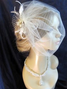 Bridal Birdcage Veil  White Ivory Tulle by svitlanasbridalveils, $28.95
