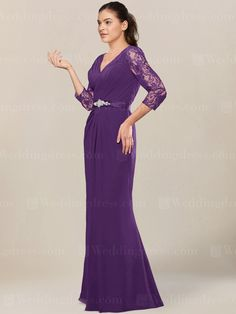 Chiffon mother of the bride dress features V-neck ruched bodice and 3/4 length lace sleeves.